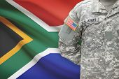 American Soldier With Flag On Background - South Africa