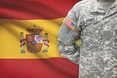 American Soldier With Flag On Background - Spain