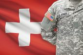 American Soldier With Flag On Background - Switzerland