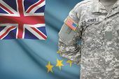 American Soldier With Flag On Background - Tuvalu