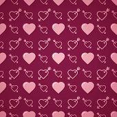 Lovely heart romantic pattern. Seamless vector background.