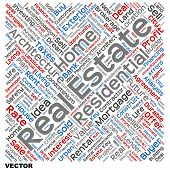 Vector concept or conceptual abstract home, real estate or housing word cloud or wordcloud isolated on white background