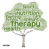Vector concept or conceptual health or diet green text word cloud or tagcloud tree isolated on white background