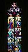 VIENNA, AUSTRIA - OCTOBER 11: Stained glass in Votiv Kirche (The Votive Church). It is a neo-Gothic church in Vienna, Austria on October 11, 2014