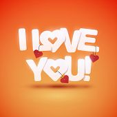 I love you text with hearts