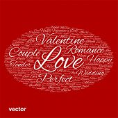 Vector concept or conceptual white love or Valentine`s Day wordcloud text in shape of ellipse symbol isolated on red background