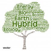 Vector Conceptual green tree made of ecology, recycle or energy text as wordcloud isolated on white background