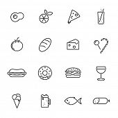 Food vector line icons set. Collection of 16 food related black line icons vector illustration