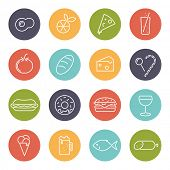 Food vector line icons set. Collection of 16 modern food line icons in circles vector illustration.