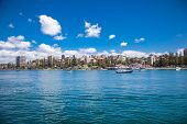 Panoramic view on Manly Beach Ferry Station in Sydney, Australia.