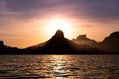 Rio de Janeiro Mountains and Lake by Sunset
