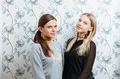 Lifestyle portrait of two young best friends hipster women having fun and posing indoors