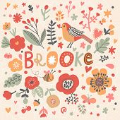 Bright card with beautiful name Brooke in poppy flowers, bees and butterflies. Awesome female name design in bright colors. Tremendous vector background for fabulous designs