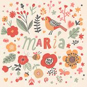 Bright card with beautiful name Maria in poppy flowers, bees and butterflies. Awesome female name design in bright colors. Tremendous vector background for fabulous designs