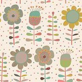 Cartoon flowers. Cute seamless pattern with pastel colored flowers in vector. Can be used for summer backgrounds
