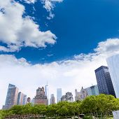 Lower Manhattan New York skyline Battery Park NYC in USA US