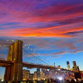 Brooklyn bridge and Manhattan skyline on July 4th New York USA
