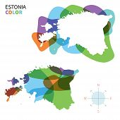 Abstract vector color map of Estonia with transparent paint effect.