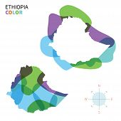 Abstract vector color map of Ethiopia with transparent paint effect.