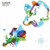Abstract vector color map of Europe with transparent paint effect.