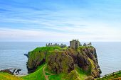 foto of castle  - Dunnottar scottisch medieval fortress or castle - JPG