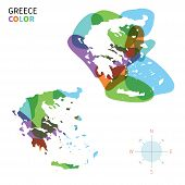 Abstract vector color map of Greece with transparent paint effect.