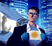 Businessman Superhero Country Argentina Flag Culture Power Concept