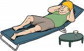 Winking Man On Deck Chair