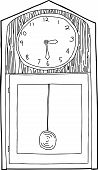 picture of pendulum clock  - Hand drawn cartoon antique clock outline over white - JPG