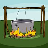 pic of cauldron  - Cartoon of large empty cauldron hanging over flames - JPG