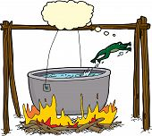 image of cauldron  - Cartoon of clever frog jumping out of cauldron in bonfire - JPG