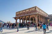 Jaipur, India - December29, 2014: Tourist Visit Diwan-i-am In Amber Fort Near Jaipur