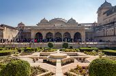 Jaipur, India - December29, 2014: Tourist Visit Sukh Niwas The Third Courtyard In Amber Fort