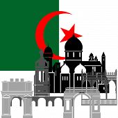 stock photo of algeria  - The national flag of the Algeria and the contour image of architectural landmarks of this country - JPG