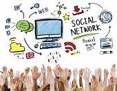 Social Network Social Media Hands Participation Unity Concept