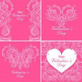 Set of valentines day greeting cards with baroque floral ornament. Gentle vintage design. Vector illustration.