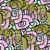 seamless texture of abstract green purple circles curls