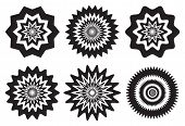 pic of dizziness  - Vector illustration of black and white fuzzy concentric patterns with optical illusion effects that may cause dizziness - JPG