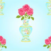 Seamless Texture Vase With Pink Roses Vector