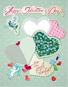 Vintage Card, Old Paper Peaces In Hearts Shapes With Handwritten Calligraphic Text - You Are Simply