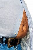 man with overweight. symbolic photo for beer belly, unsuccessful diets and poor diet
