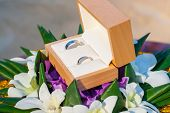 picture of marriage ceremony  - Wedding rings are beautifully decorated in preparation for the marriage ceremony - JPG