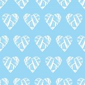 Blue wicker hearts seamless vector print