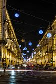 Po Street by night, Turin