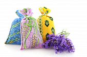 stock photo of dessin  - Several bags with dried Lavender from the Provence - JPG
