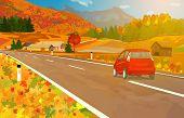 Car travel in Alps at autumn season. EPS 10 format.