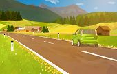 Car travel in Alps at summer season. EPS 10 format.