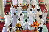 Adherents To Cao Dai Religion Praying In Vietnam