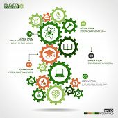 picture of mechanical engineer  - Abstract background with a set of gears - JPG
