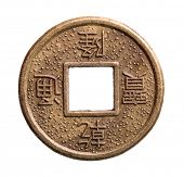 Feng shui coin isolated on white